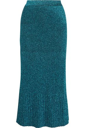 MISSONI Pleated metallic stretch-knit skirt