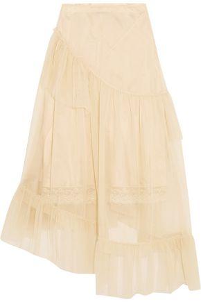 SIMONE ROCHA Asymmetric ruffled tulle midi skirt