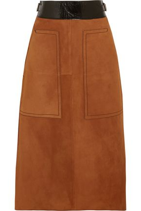 BOTTEGA VENETA Cracked leather-trimmed suede midi skirt