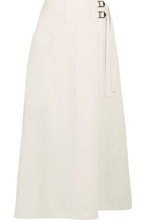 BOTTEGA VENETA Wool-crepe wrap skirt