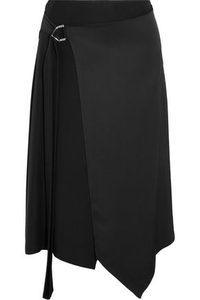 VERSACE Asymmetric satin wrap midi skirt