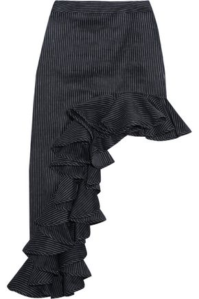 BEAUFILLE Ara asymmetric pinstriped linen-blend skirt
