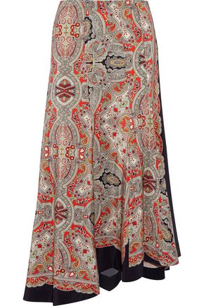 THEORY Asymmetric printed silk crepe de chine skirt