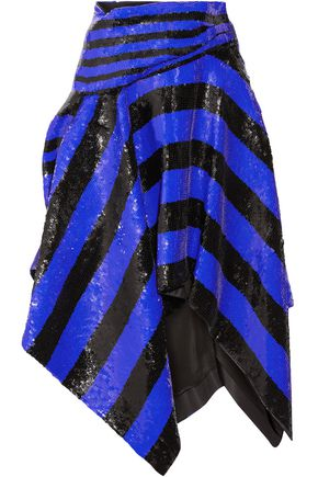 PROENZA SCHOULER Asymmetric sequined silk wrap midi skirt