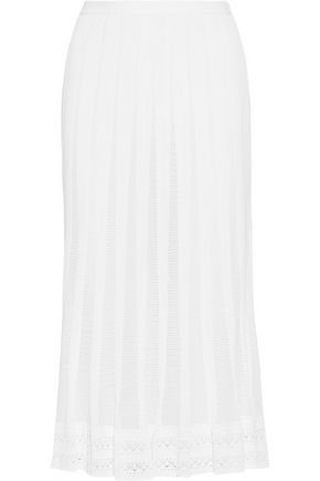 OSCAR DE LA RENTA Pleated open-knit and lace midi skirt