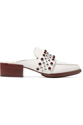 3.1 PHILLIP LIM Quinn embellished cracked-leather slippers