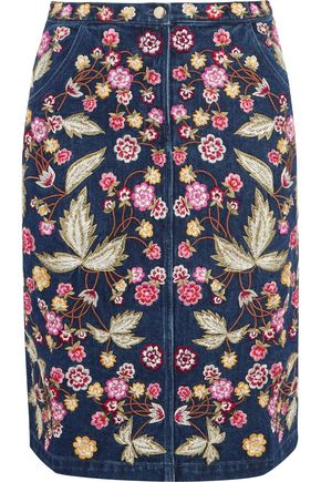 NEEDLE & THREAD Wild Flower embroidered denim skirt