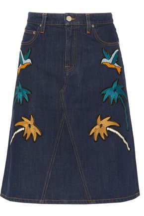 VICTORIA, VICTORIA BECKHAM Embroidered denim skirt