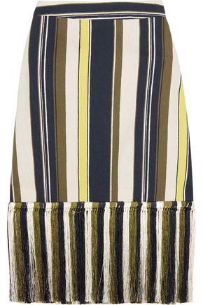 ZEUS + DIONE Zephyr fringed striped slub silk skirt