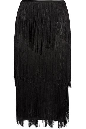 TOM FORD Fringed stretch ribbed-knit midi skirt