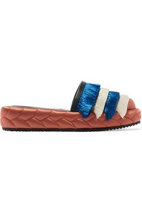 MARCO DE VINCENZO Leather-trimmed fringed satin slippers