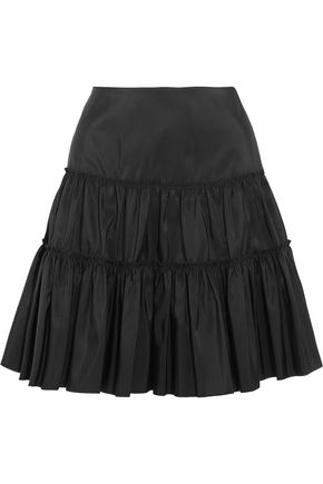 GIAMBATTISTA VALLI Gathered silk-taffeta mini skirt
