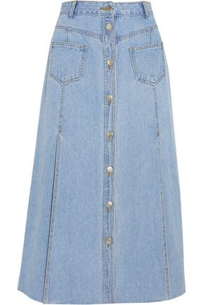 SJYP Paneled denim midi skirt