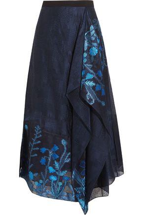 ROLAND MOURET Upton asymmetric fil coupé organza midi skirt