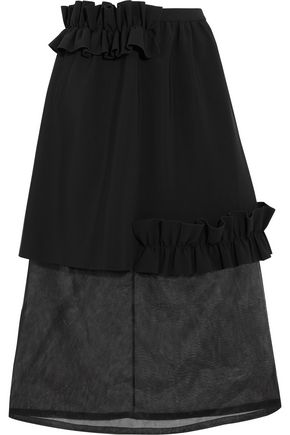 PASKAL Ruffle-trimmed bonded stretch-crepe and organza skirt