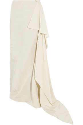 LANVIN Asymmetric draped silk-twill maxi skirt
