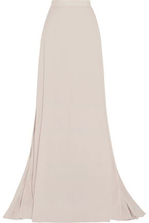 LANVIN Pleated paneled satin maxi skirt