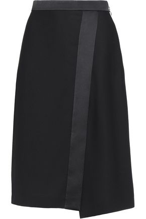 CARVEN Satin-trimmed wrap-effect crepe skirt
