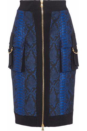 BALMAIN Snake-effect cloqué skirt