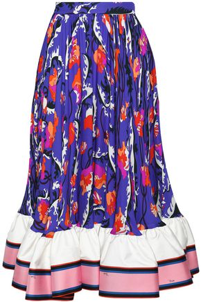 EMILIO PUCCI Flared satin-trimmed printed silk-crepe midi skirt