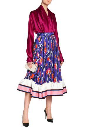 EMILIO PUCCI Flared satin-trimmed printed silk-crepe midi skirt