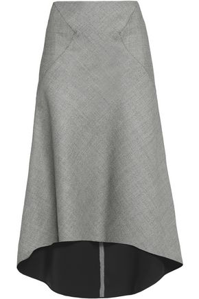 VIONNET Draped wool-blend midi skirt