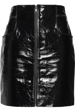 MAJE Textured patent-leather mini skirt