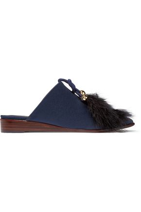 TIBI Sofie feather-embellished satin slippers