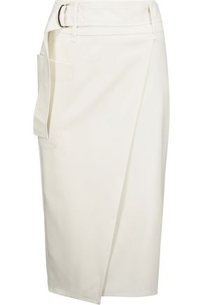 MAX MARA Asymmetric wrap-effect wool-blend skirt