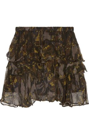 IRO Dicie ruffled printed crepon mini skirt