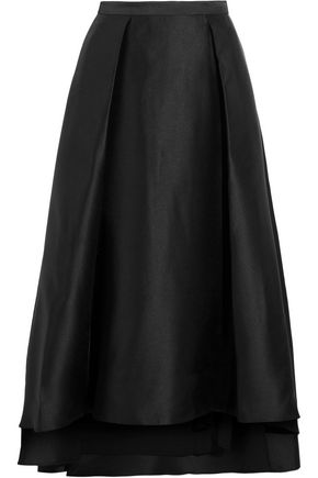 BADGLEY MISCHKA Mikado pleated crepe de chine maxi skirt