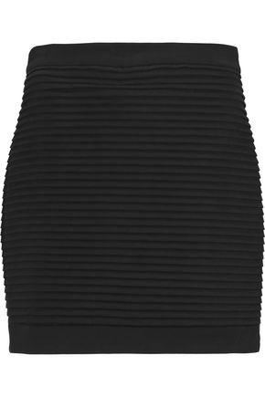 BALMAIN Pleated cotton-blend mini skirt