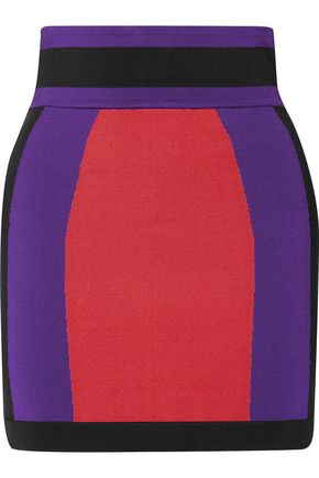 BALMAIN Color-block ponte mini skirt