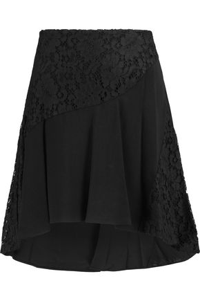 EMILIO PUCCI Lace-paneled crepe mini skirt