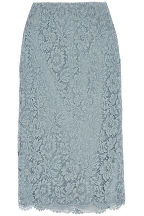 VALENTINO Layered lace and silk-organza midi skirt