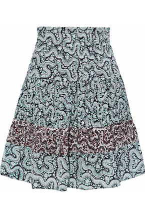 A.L.C. Shirred pleated printed silk-crepe mini skirt