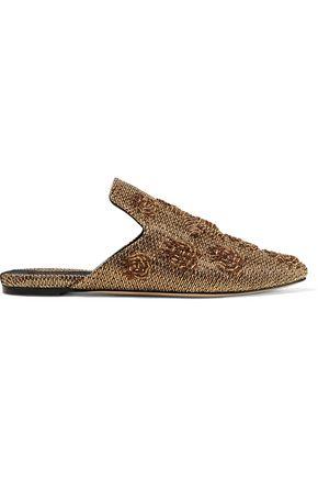 SANAYI 313 Ragno Cosmic woven metallic raffia slippers