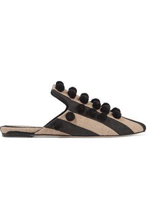 SANAYI 313 Pompom-embellished striped canvas slippers