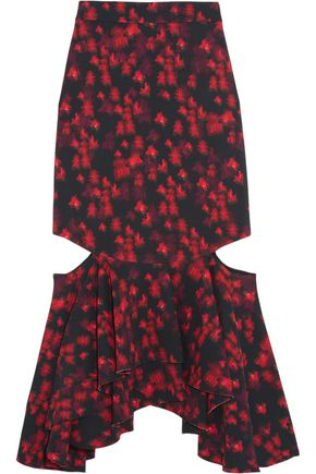 GIVENCHY Cutout ruffled midi skirt in floral-print stretch-satin