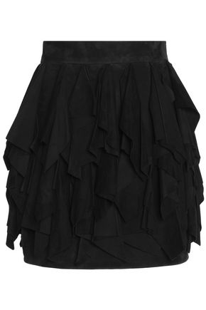 BALMAIN Ruffled suede mini skirt