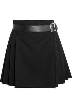Pleated Grain De Poudre Wool Wrap Mini Skirt by Alexander Mcqueen