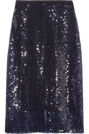 DION LEE Sequined knitted midi skirt