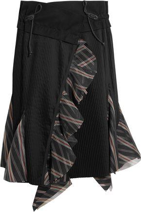 SACAI Ruffled silk organza-trimmed pleated poplin skirt