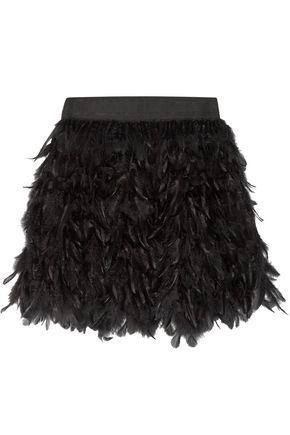 ALICE + OLIVIA Cina feather-embellished tulle mini skirt