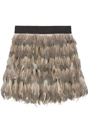 ALICE + OLIVIA Cina feather-embellished tulle mini skirt