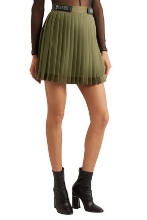 VERSUS VERSACE Embellished satin-trimmed pleated chiffon mini skirt