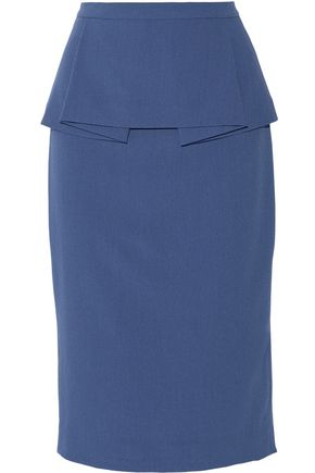 RAOUL Francis pleated peplum crepe skirt
