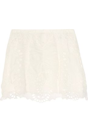 CHLOÉ Broderie anglaise tulle and linen-blend mini skirt