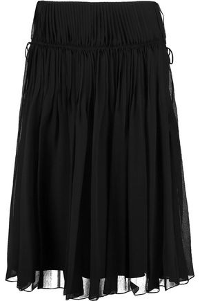 CHLOÉ Pleated silk-chiffon skirt