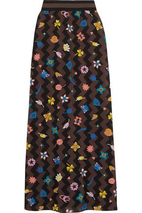 MISSONI Pleated printed silk-blend maxi skirt
